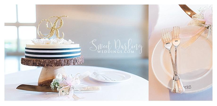 Cheesecake wedding cake black white gold