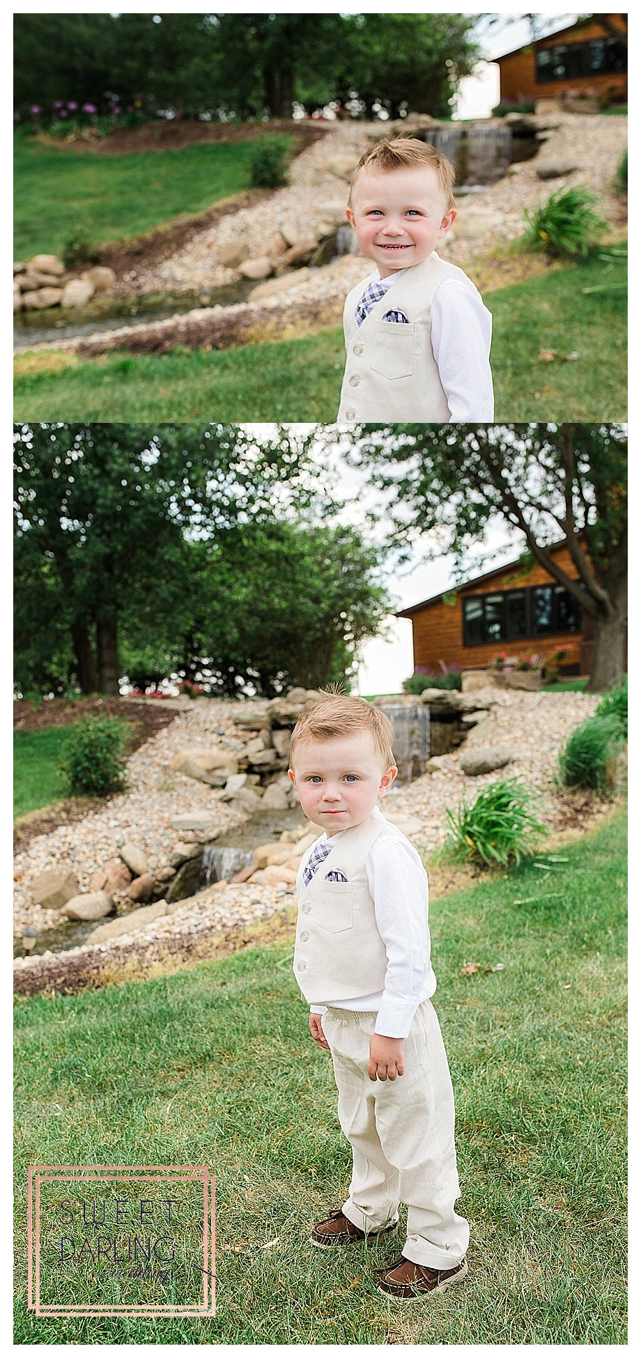 ring bearer in khaki suit by pond