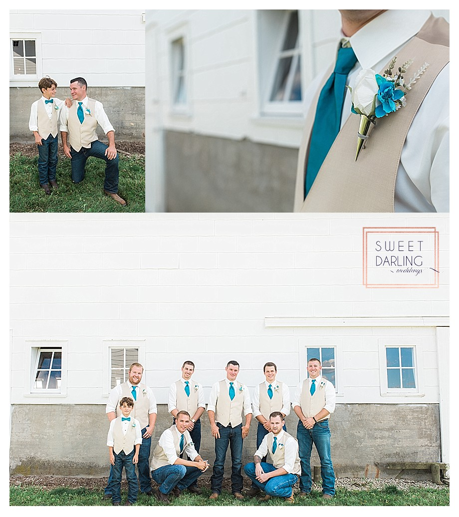 pose for groom and ring bearer groomsmen in county wedding