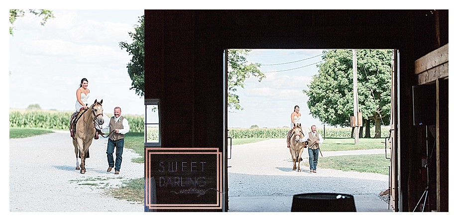 bride riding in on a horse to ceremony with father