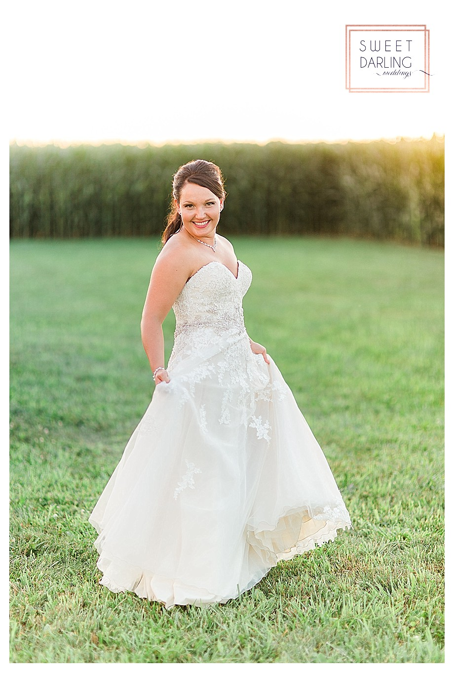 bride in strapless gown at country wedding