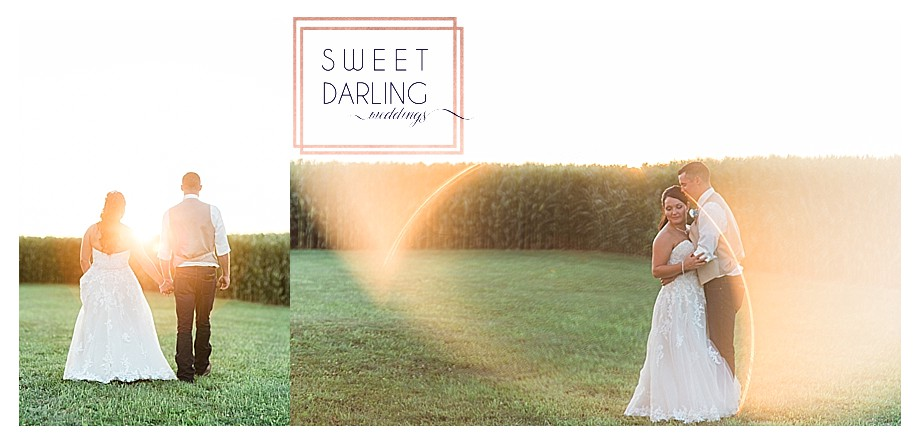 sunset photos at country wedding bride groom
