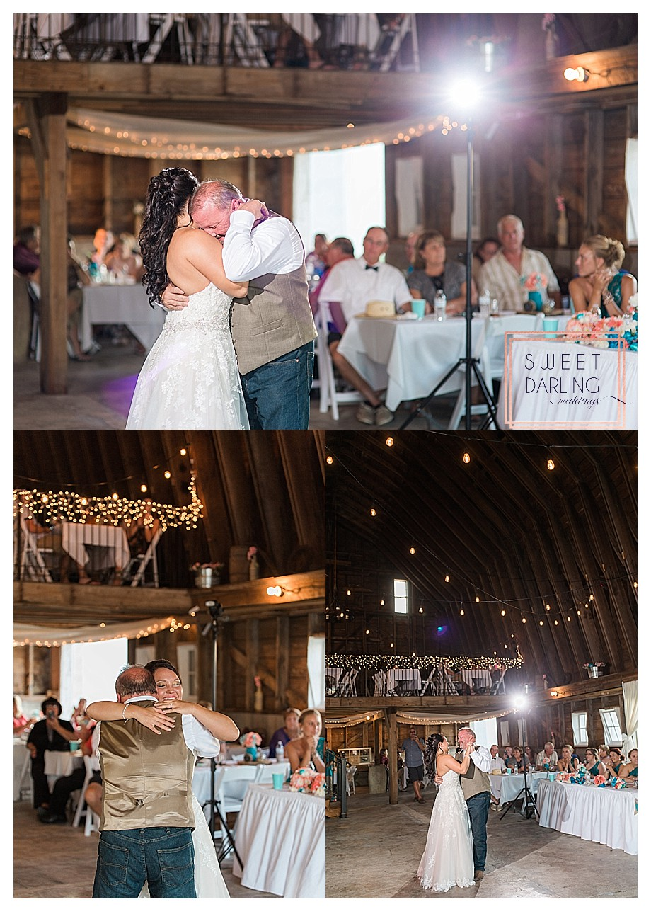 father daughter dance in restored barn twinkle lights