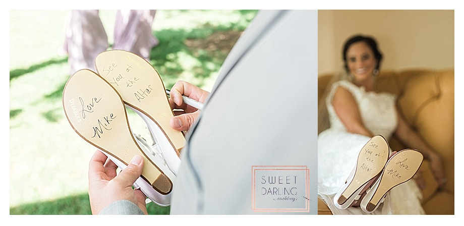 groom personalizes brides shoes without her knowing