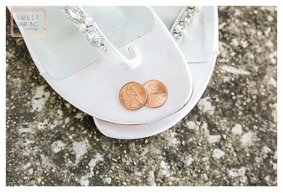 pennies in wedding shoes for good luck
