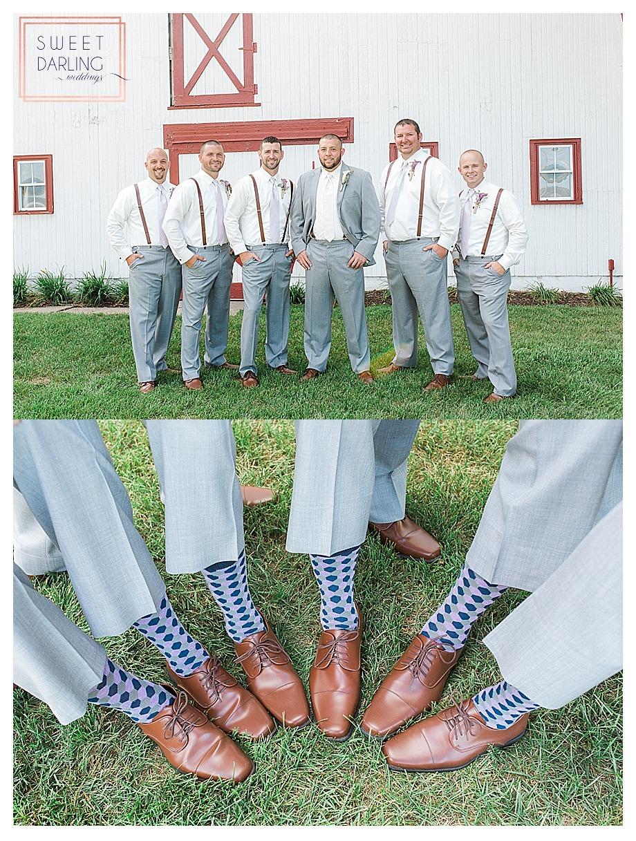 groomsmen wearing suspenders and patterned socks