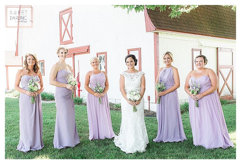 bridesmaids in lavender purple dresses