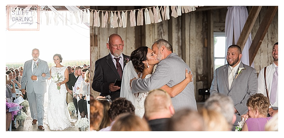 dad giving daughter away at ceremony in barn