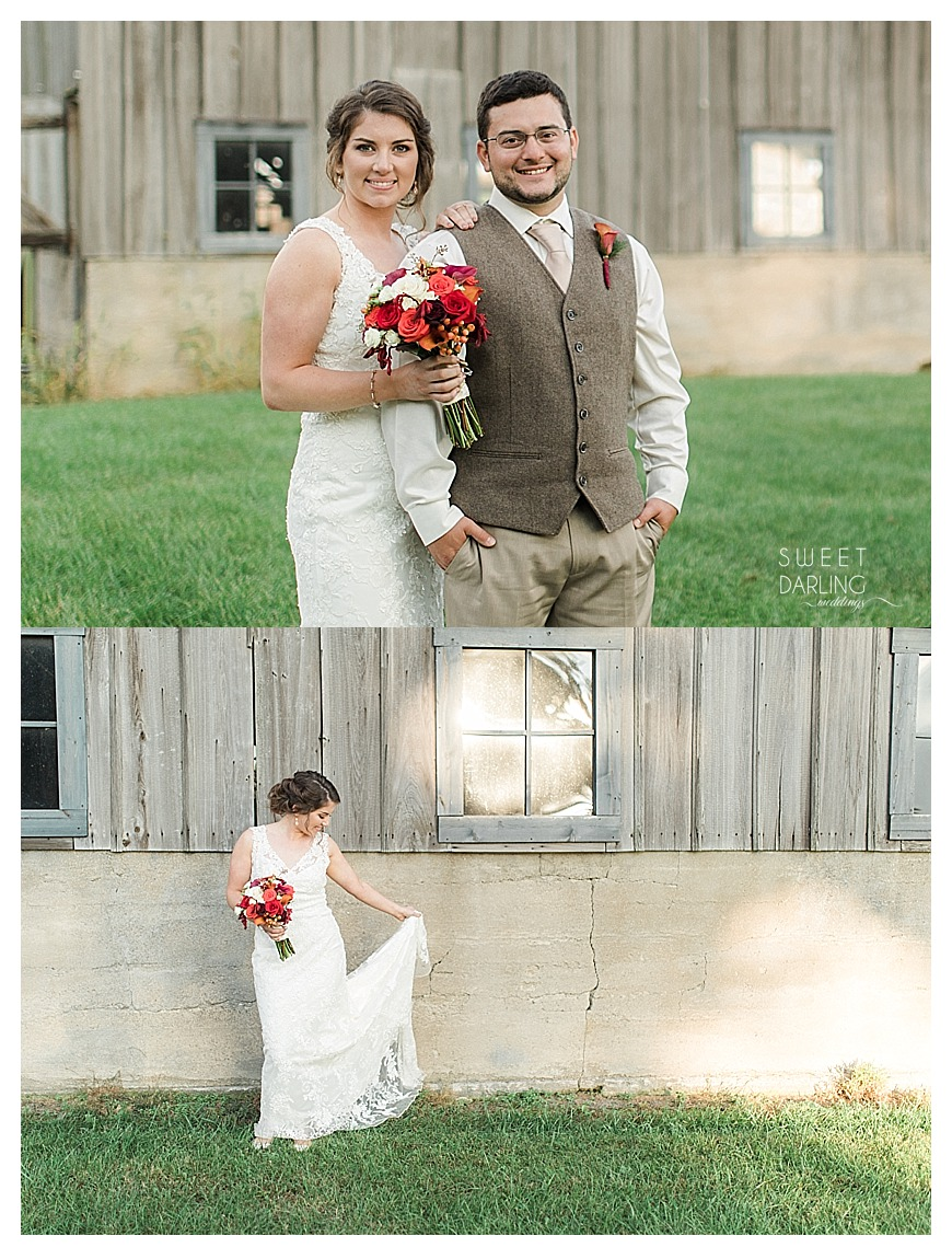 Bride and groom wedding portrait by family's barn