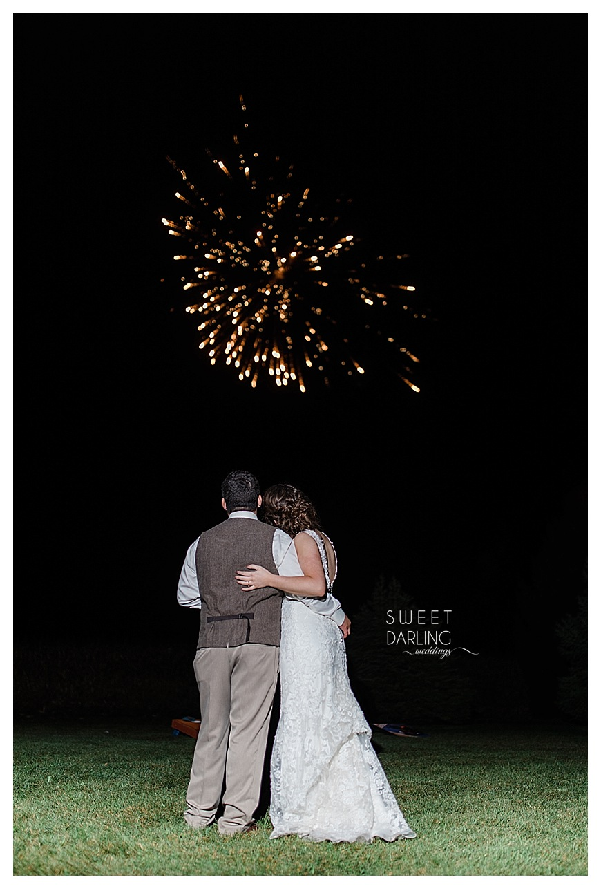 firework display at wedding reception in country
