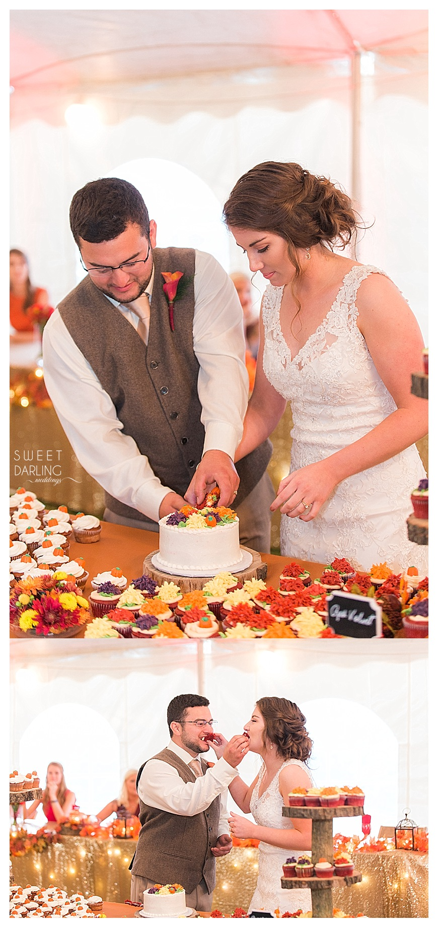 bride and groom cutting cake with fall red, orange and yellow leaves cupcakes