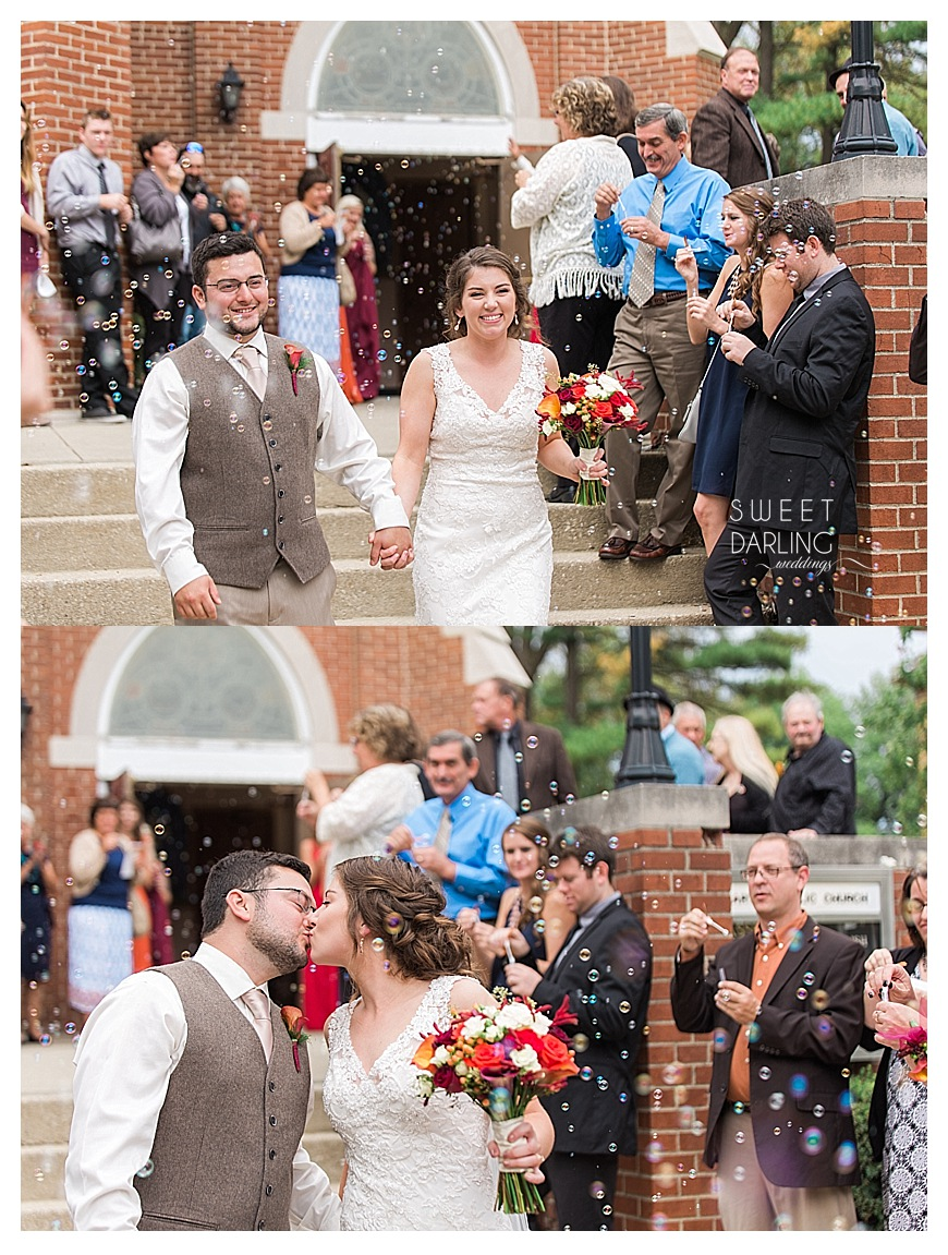 bubble exit for bride and groom after catholic wedding mass