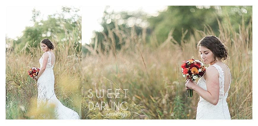 bridal portrais with bride holding fall flowers