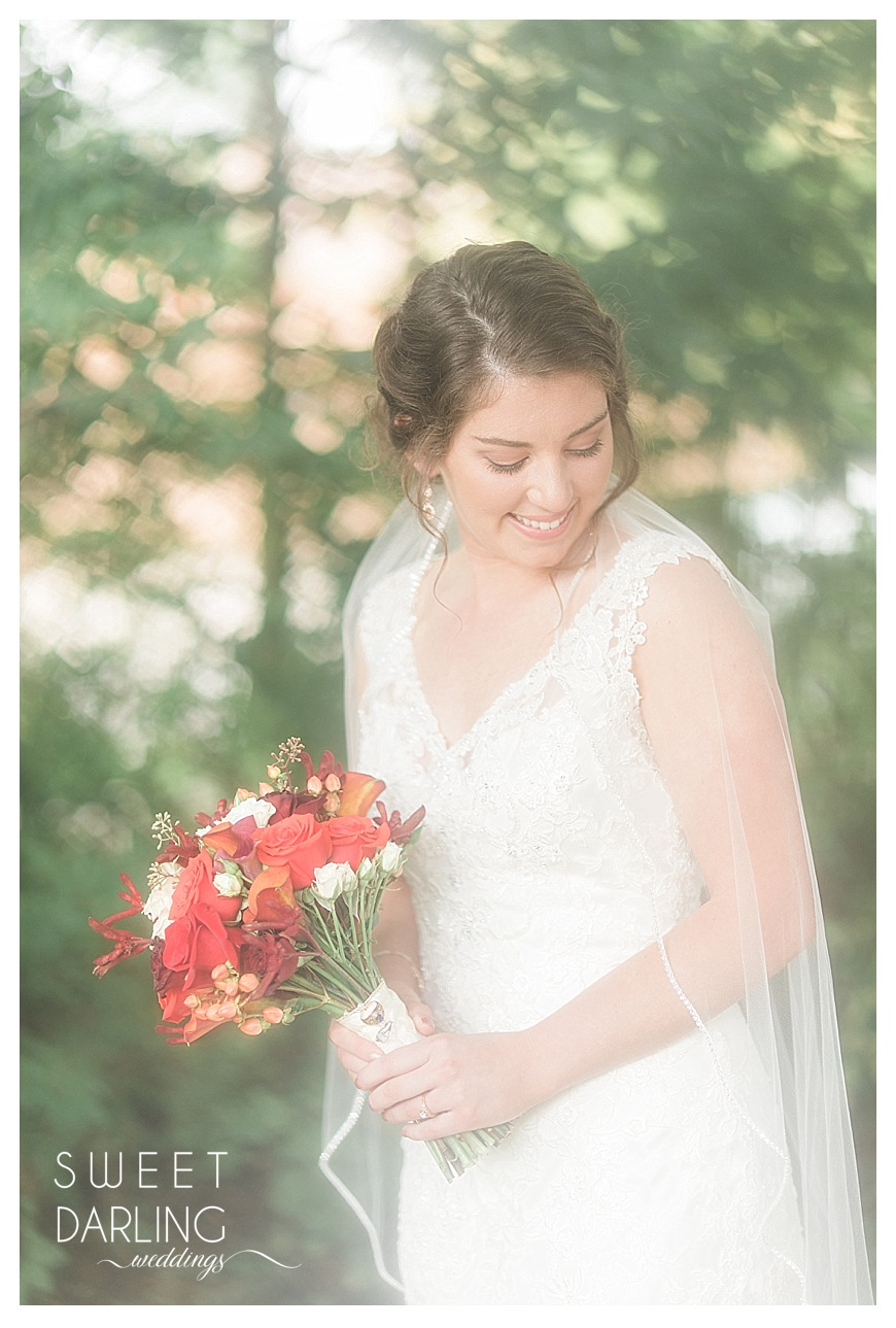 bridal portraits with white lace dress and veil
