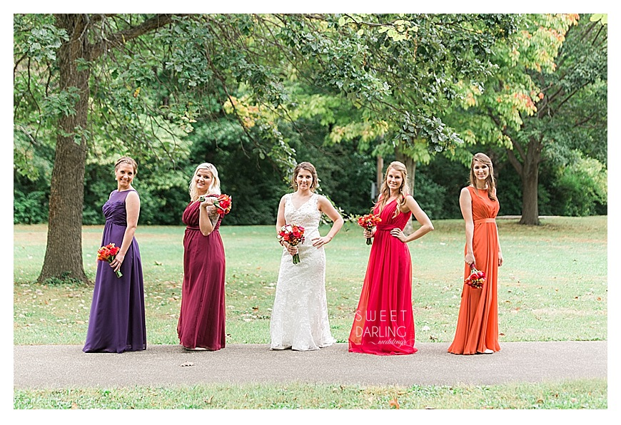 multi colored fall bridesmaids dresses