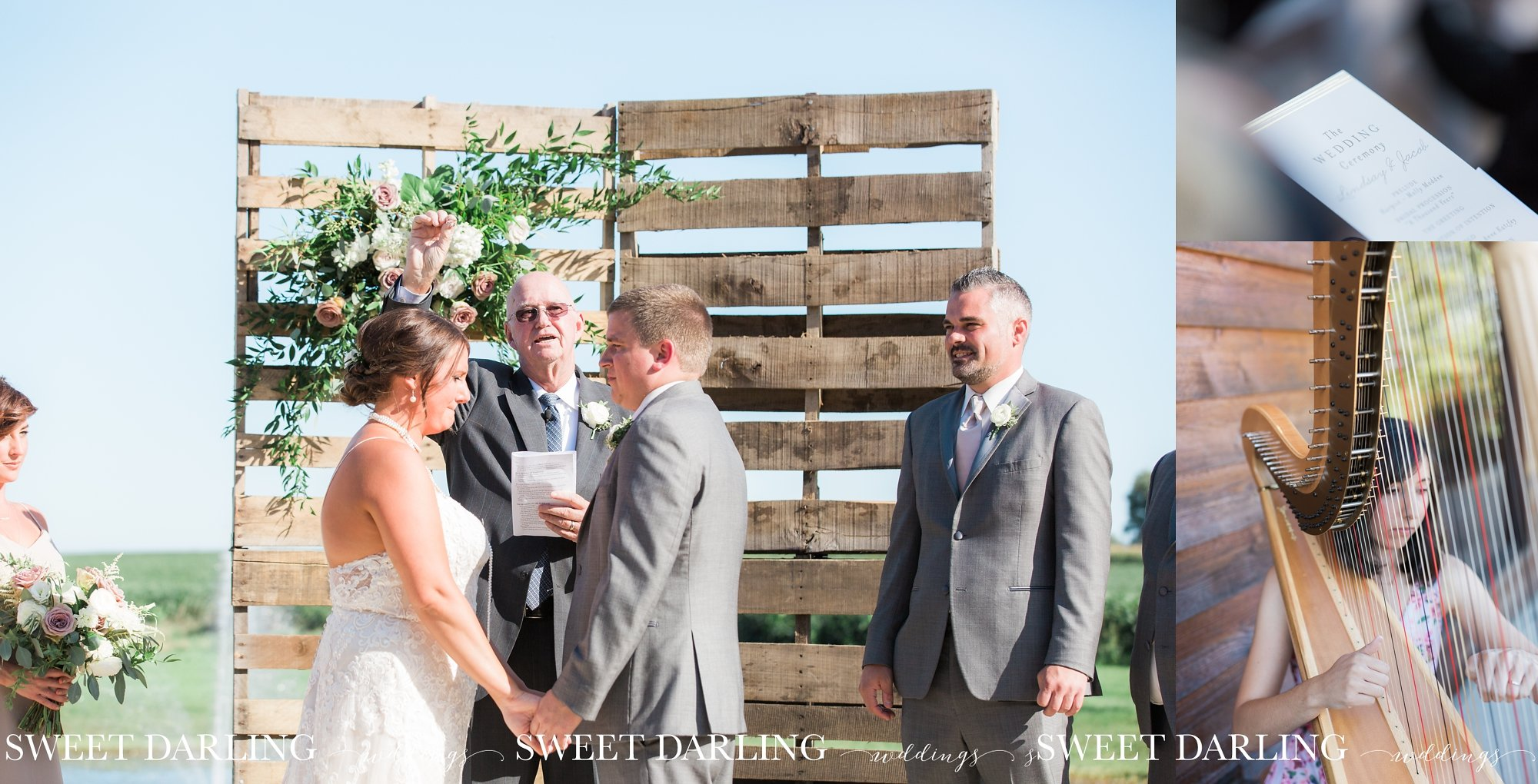 Wedding ceremony on patio at pear tree estate