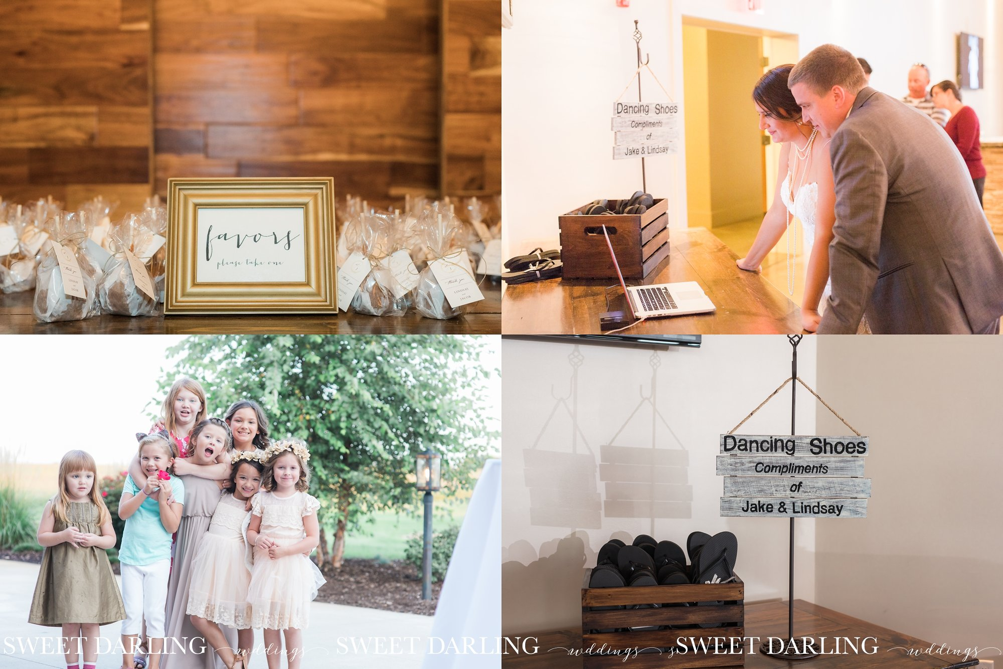 Wedding reception details in central Illinois