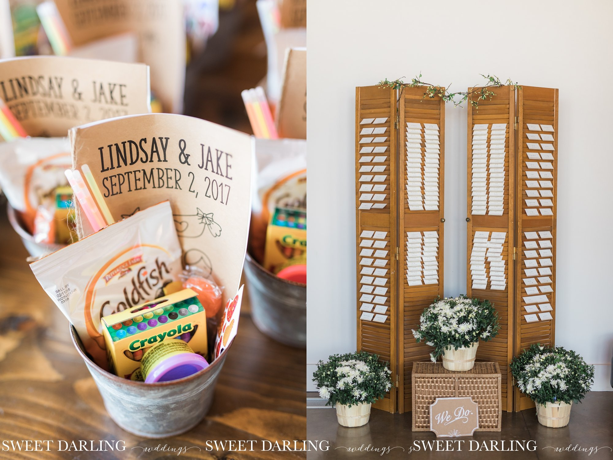 Wedding details for reception at Pear Tree Estate
