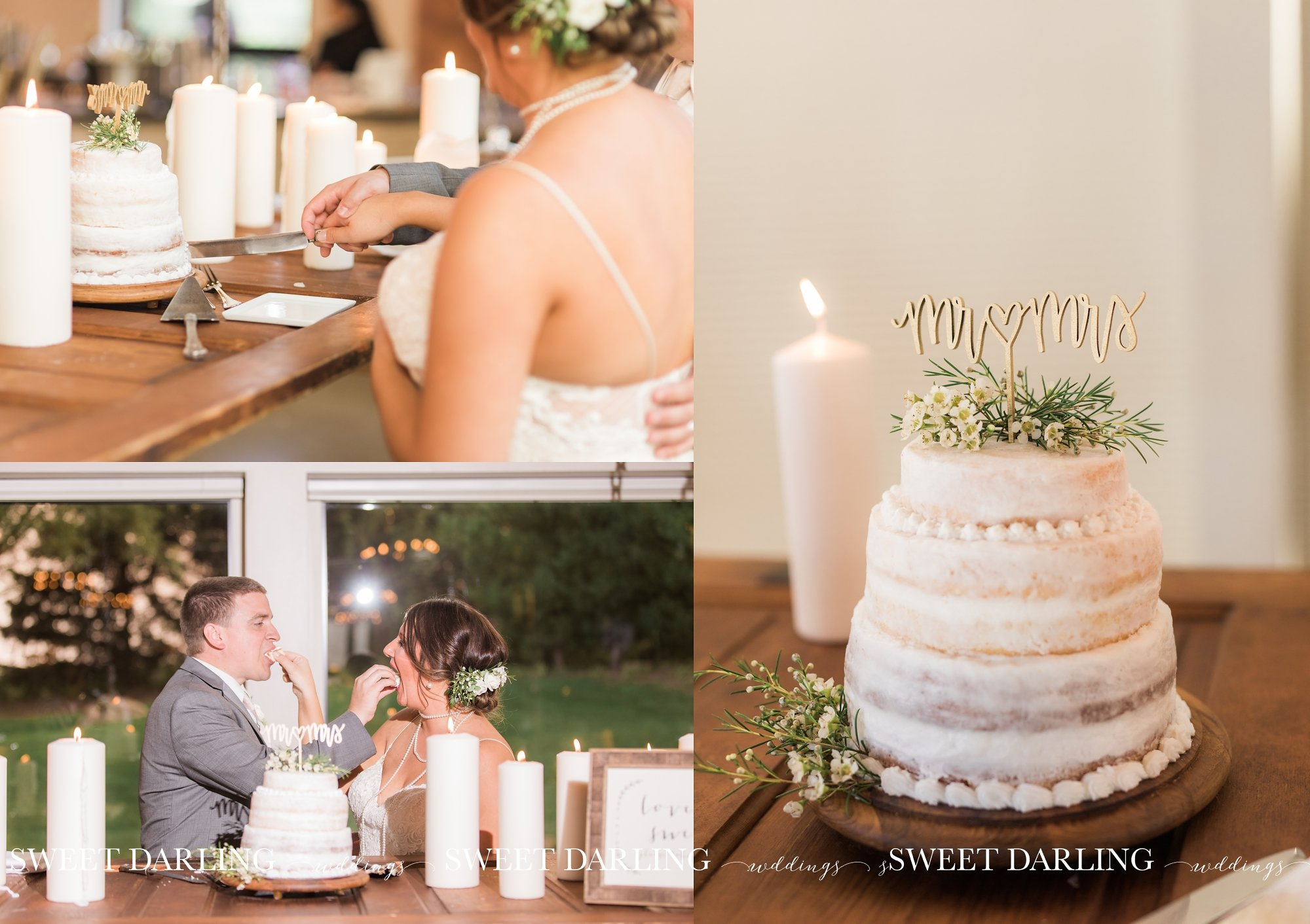 Cake cutting with white cake and candles