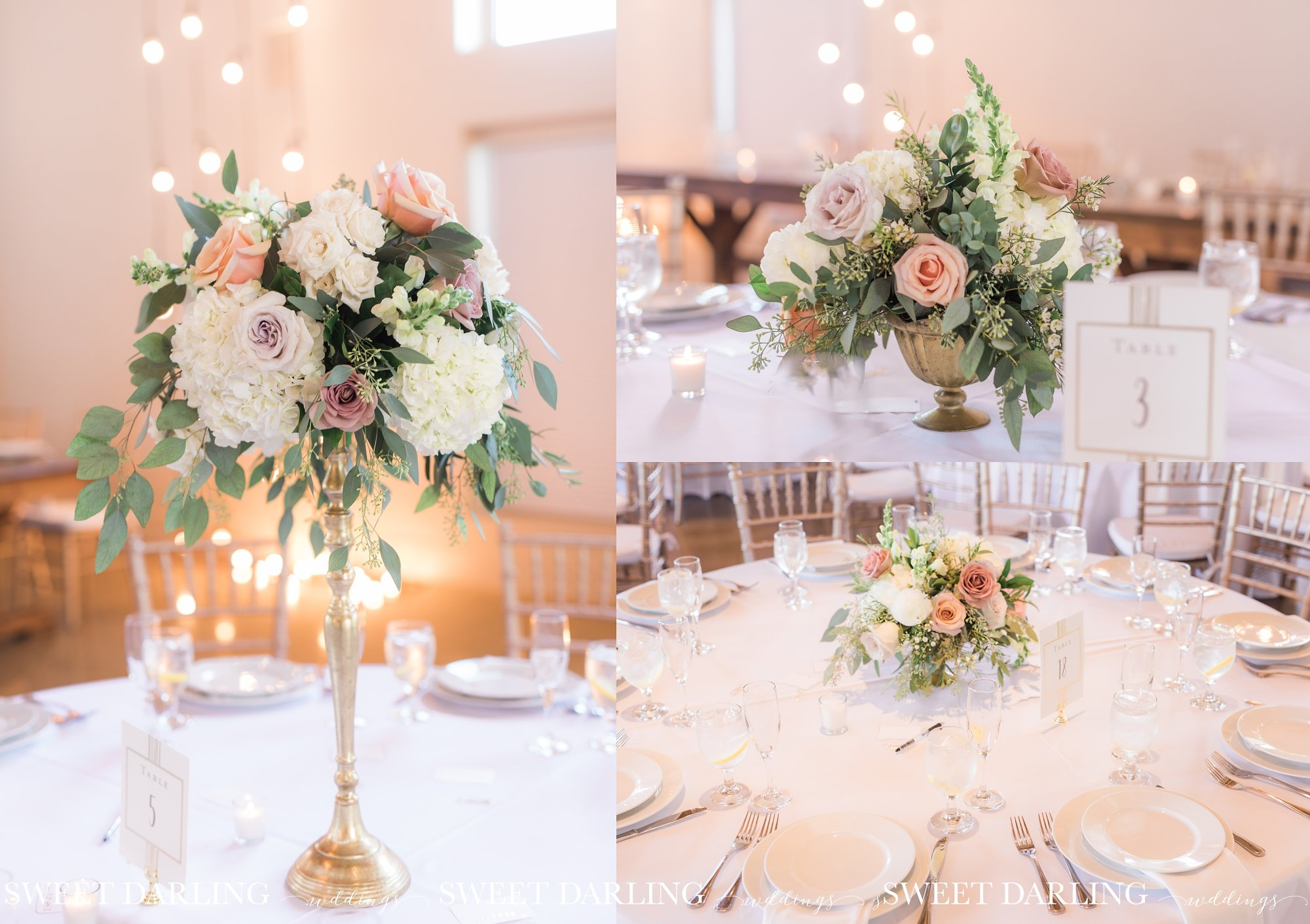 Beautiful floral centerpieces at wedding reception
