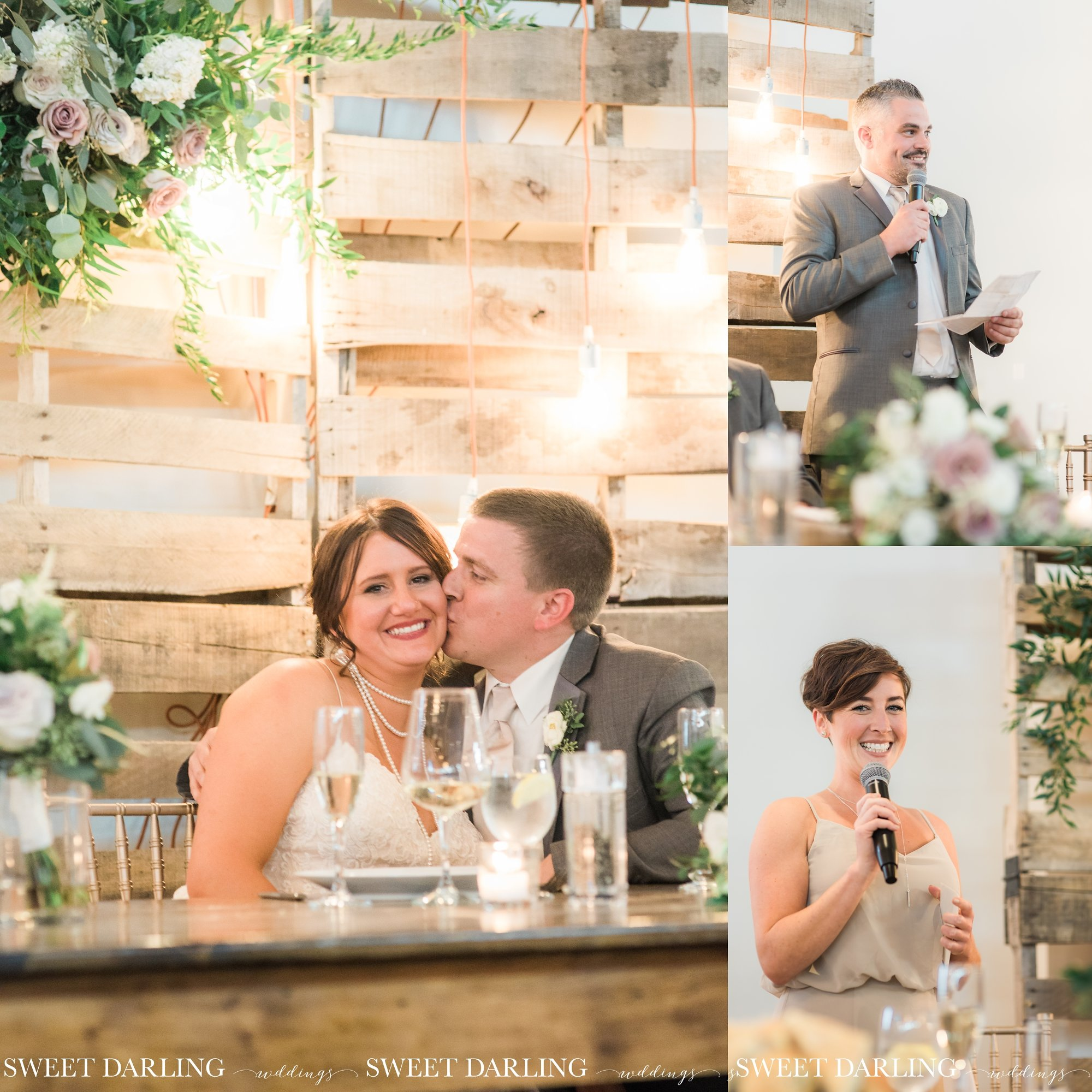Toasts to bride and groom at wedding reception