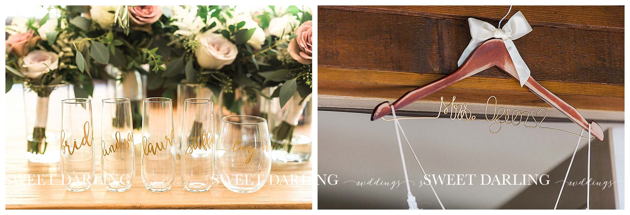 Wedding details in house at Pear Tree Estate