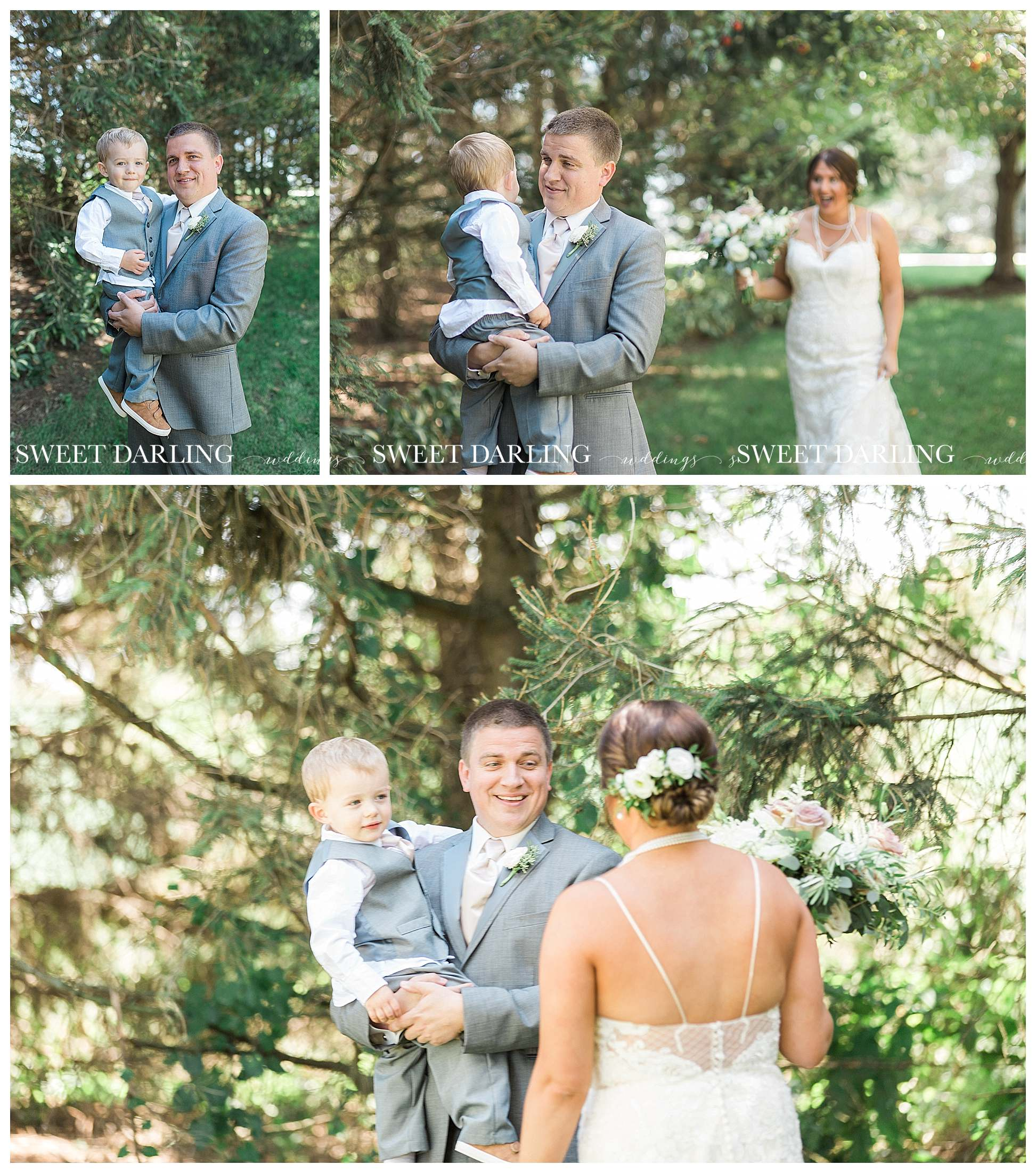 First look at wedding with groom and son