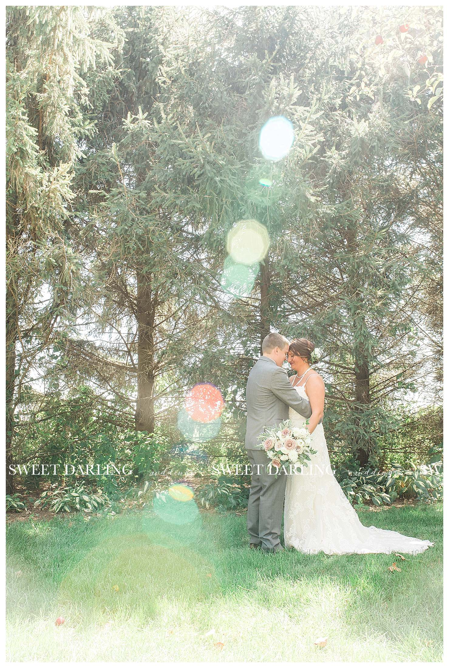 Bride and groom with sun flare at pear tree estate