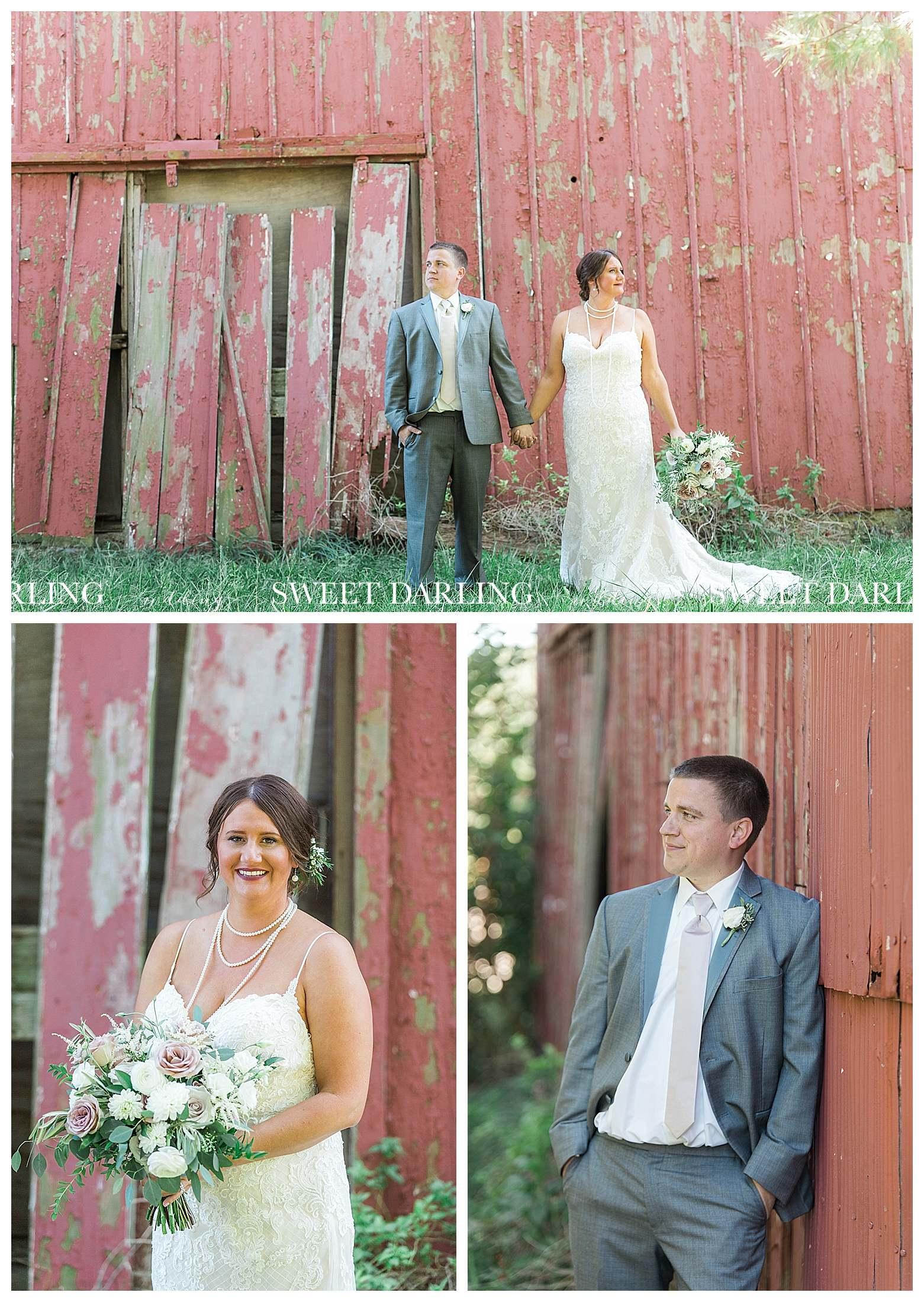 Bridal portraits at red barn in Champaign, IL