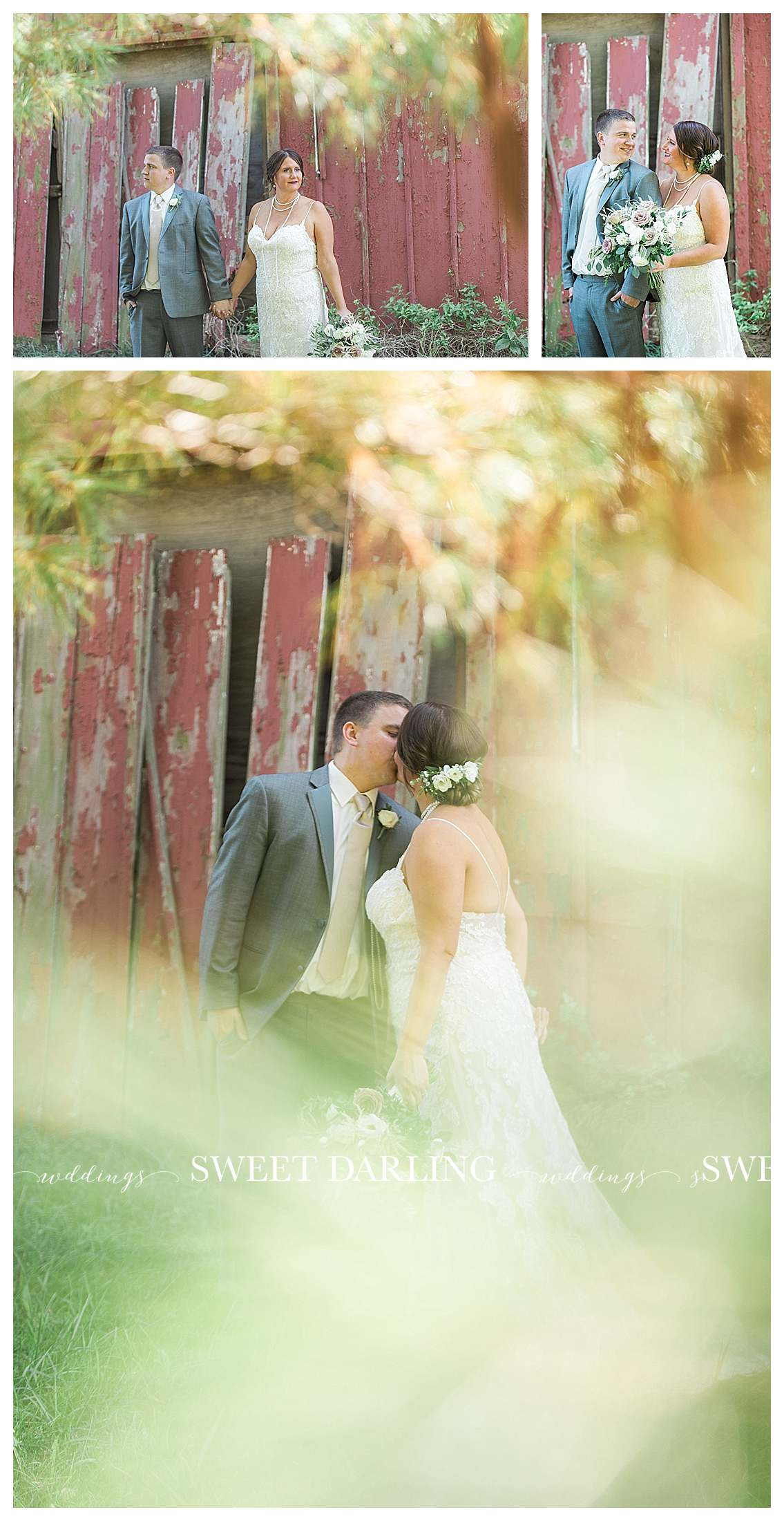 Bride and groom photos at red barn in Champaign, IL