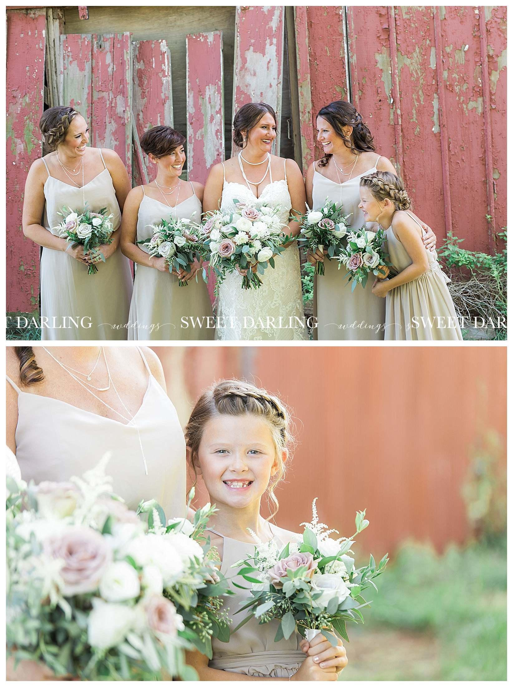 Bride and bridesmaids at red barn in Champaign County