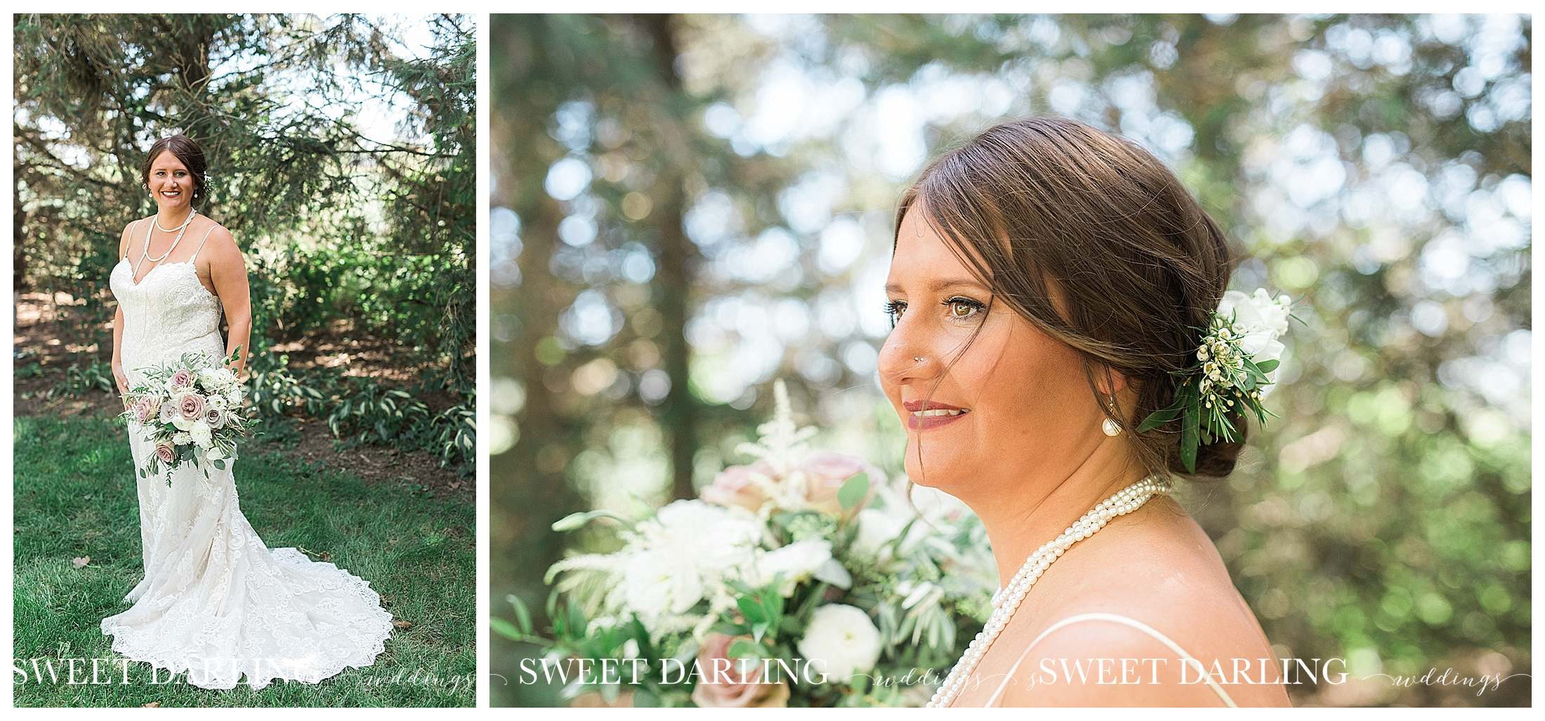 Beautiful bride in pearls central illinois