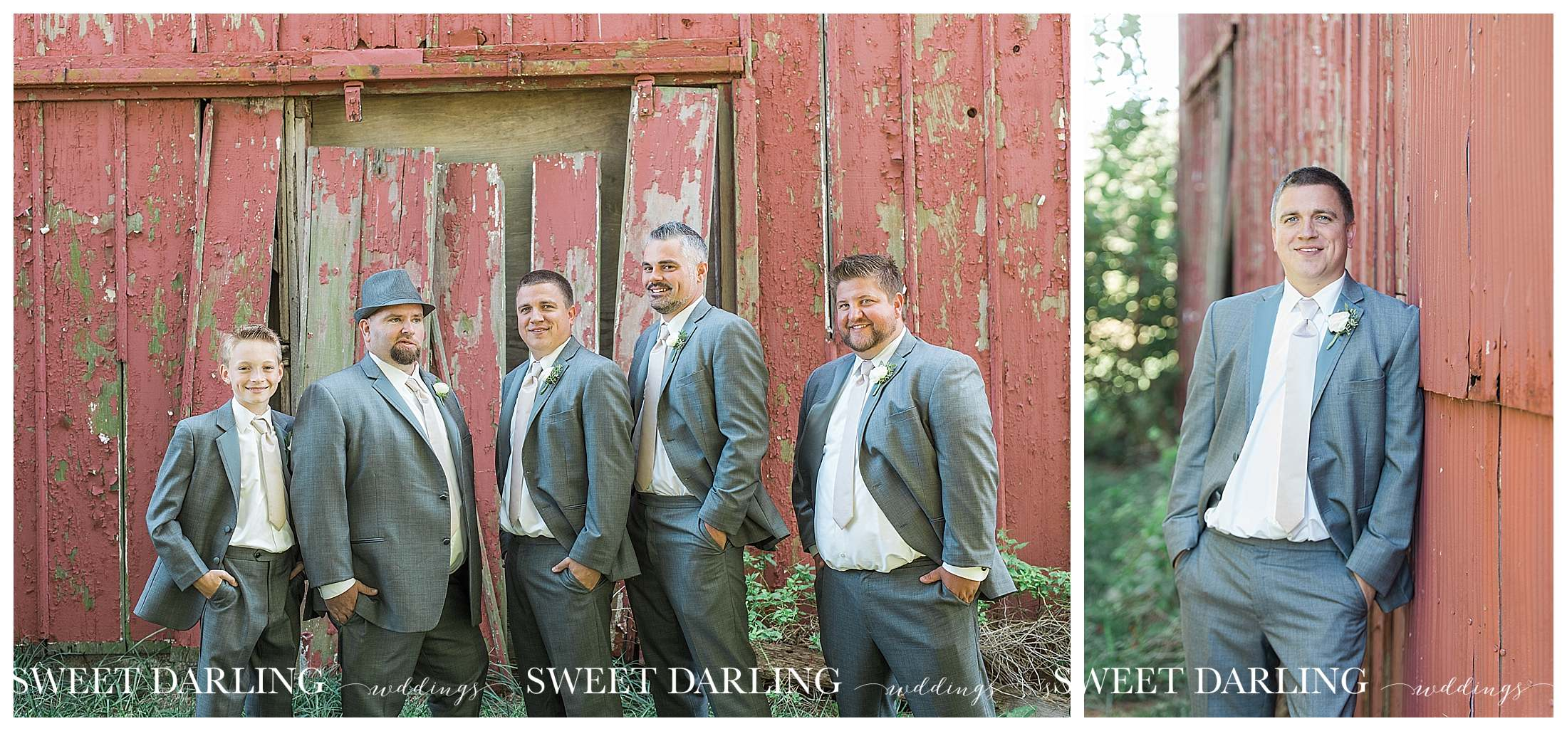 Groomsmen and groom at red barn in Champaign, IL