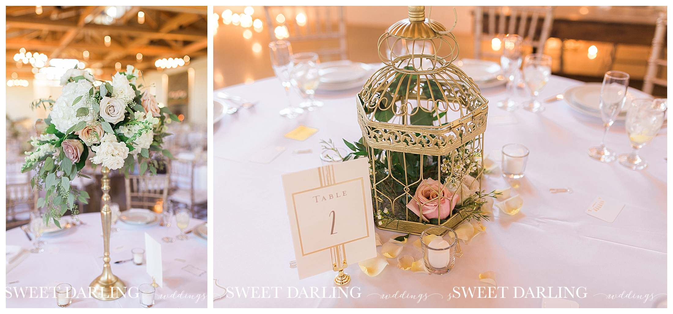 Centerpieces at pear tree estate reception