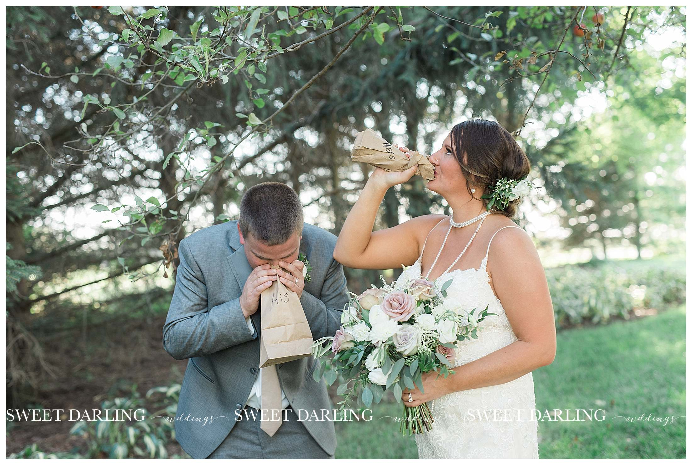 Funny bride and groom photo at pear tree estate