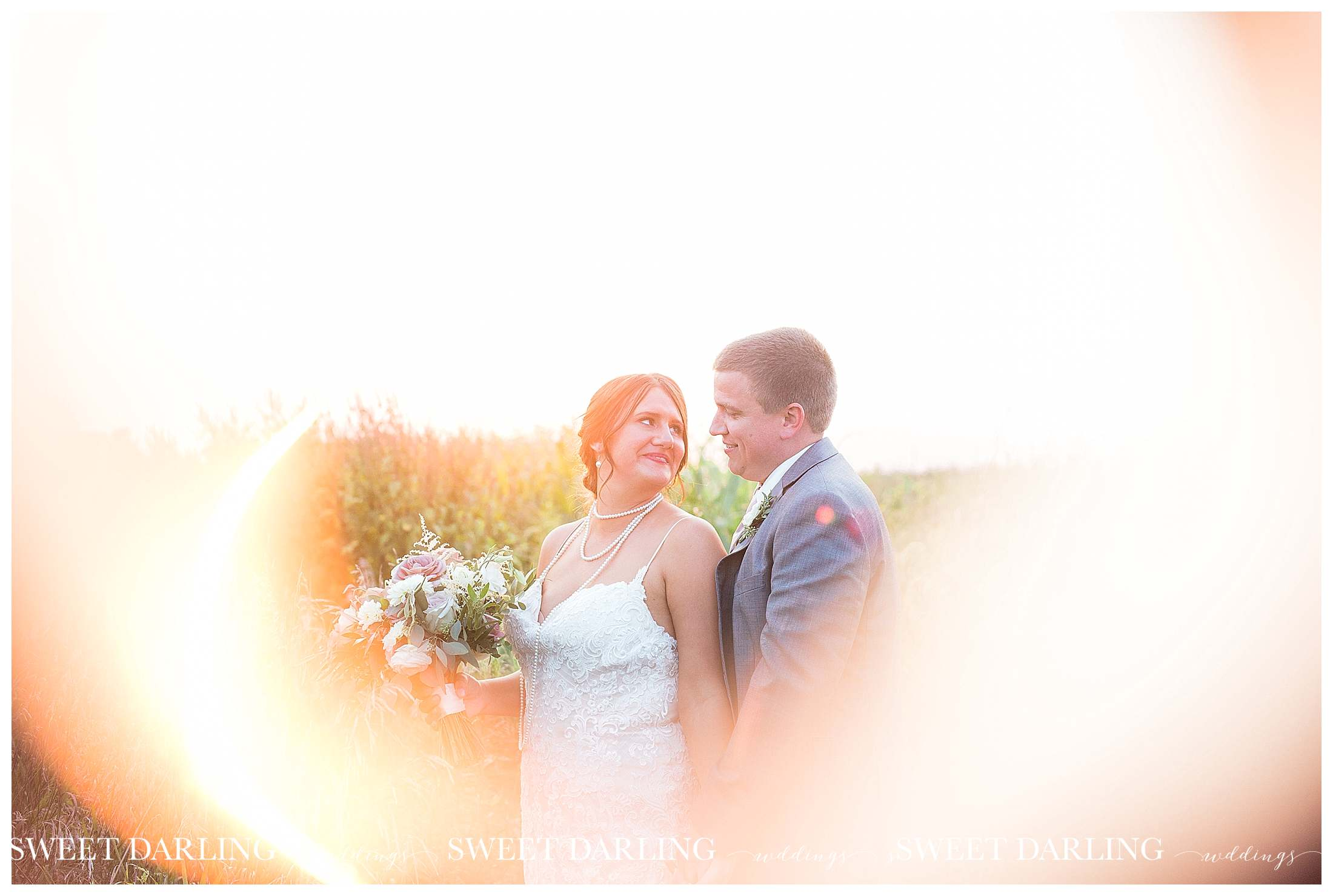Golden hour bride and groom photos at pear tree estate