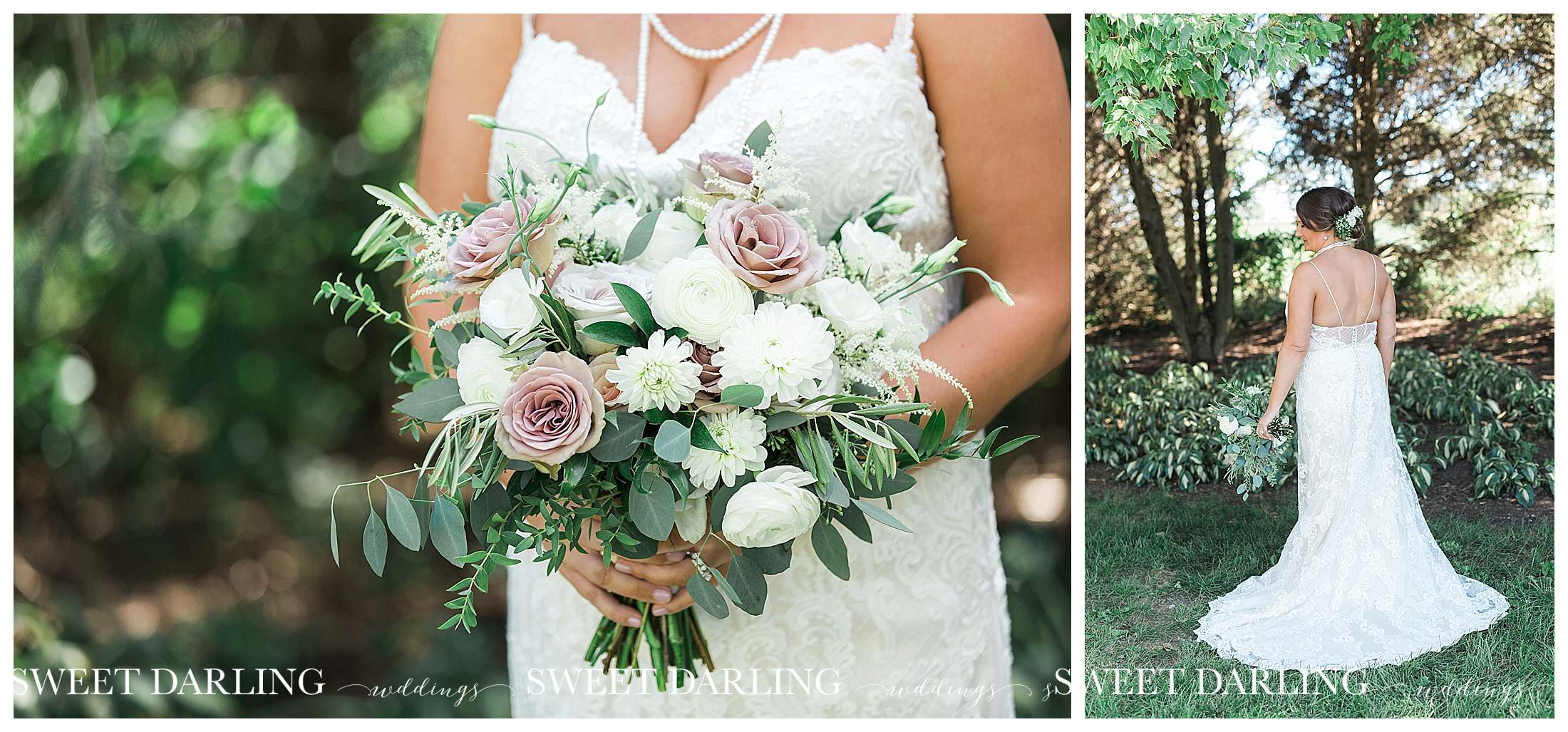 Bride holding bouquet at pear tree estae
