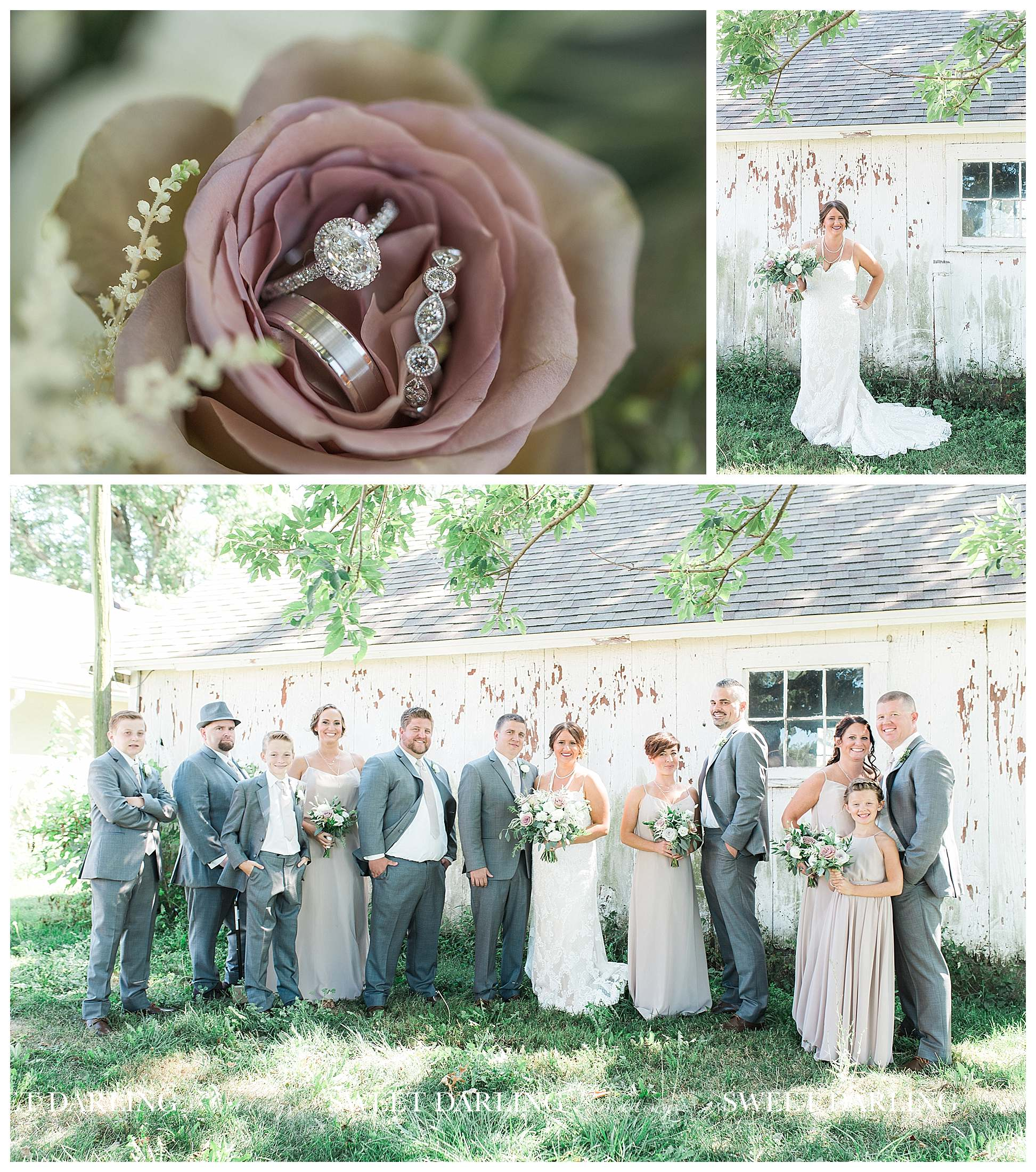 Bridal party at white building in Champaign, IL