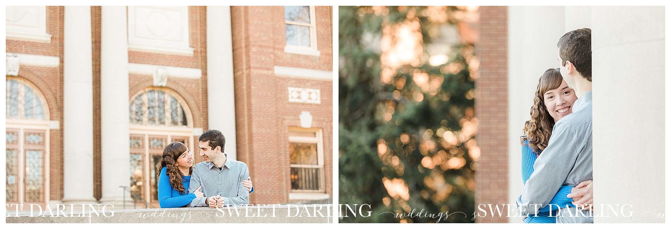 Engagement photos at University of Illinois foellinger auditorium