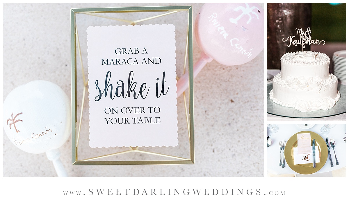 Wedding favor maracas at destination wedding at secrets silversands