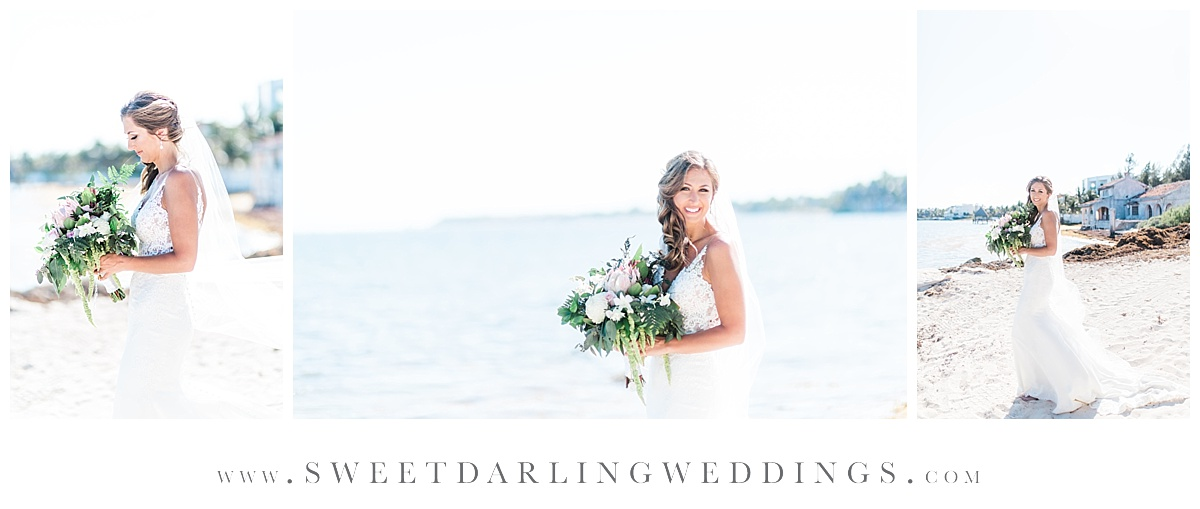 Bridal portraits on beach at Secrets Silversands