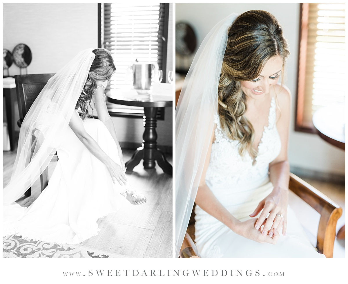 Bridal portraits in hotel room at Secrets Silversands