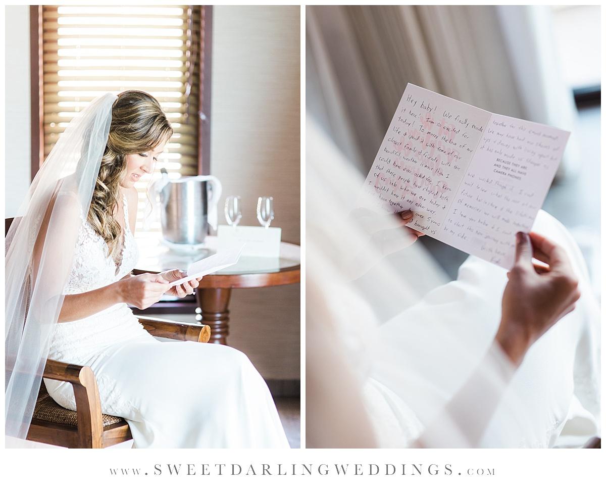 Bride reading note from groom before wedding in Riviera Maya