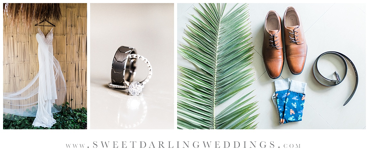Bridal details with palm frond at Secrets Silversands