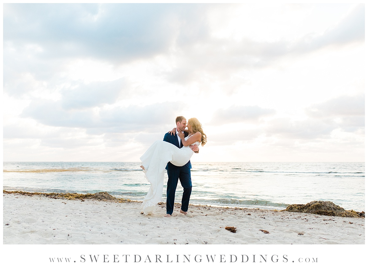 Sunrise Session in Mexico with groom carrying bride