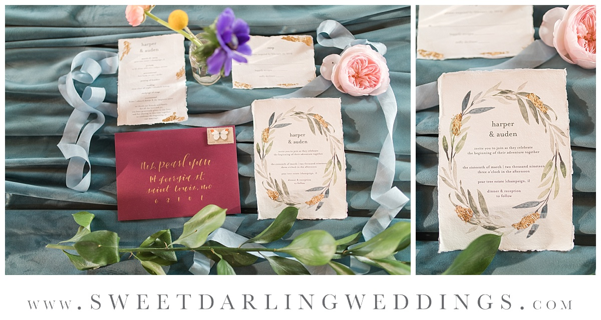 Invitation and stationary suite for wedding at Pear Tree Estate