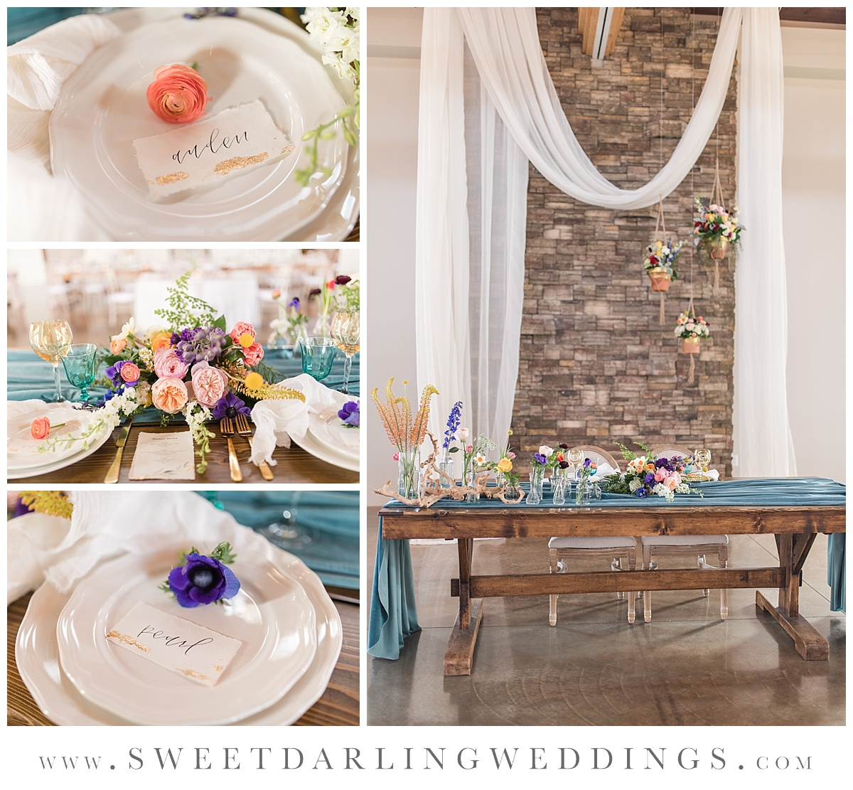 Sweetheart table at details at pear tree estate