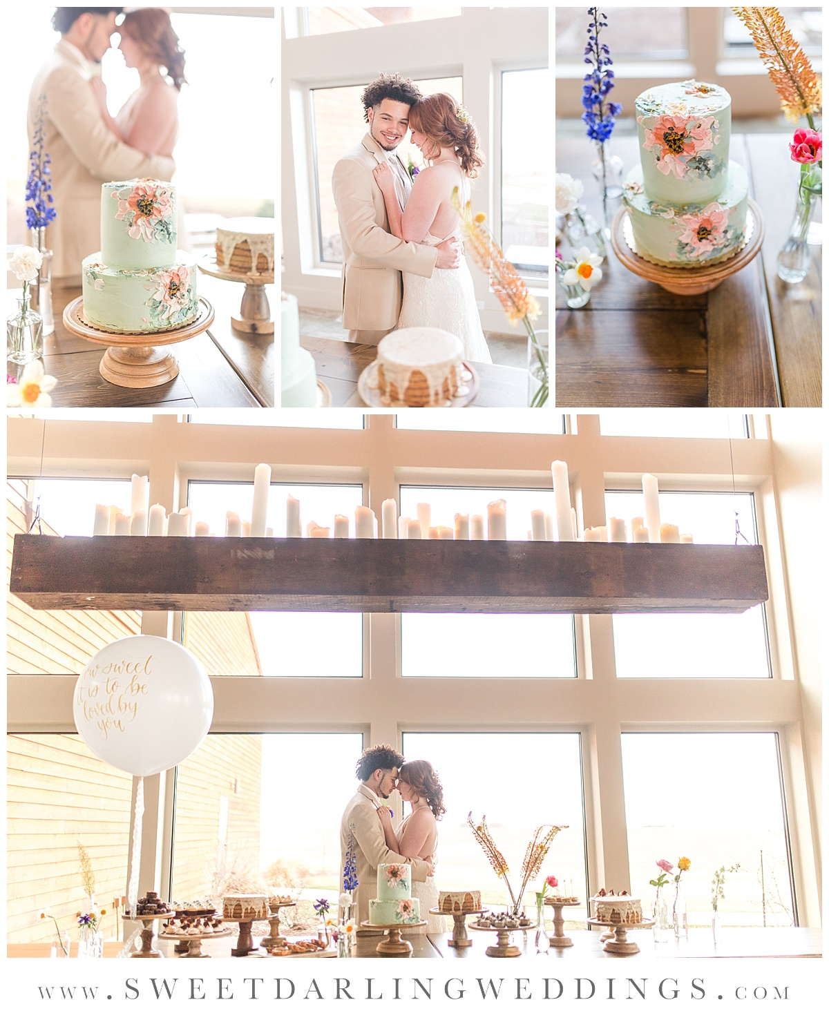 Hand painted cake and desserts at boho wedding at Pear Tree Estate, Champaign, IL