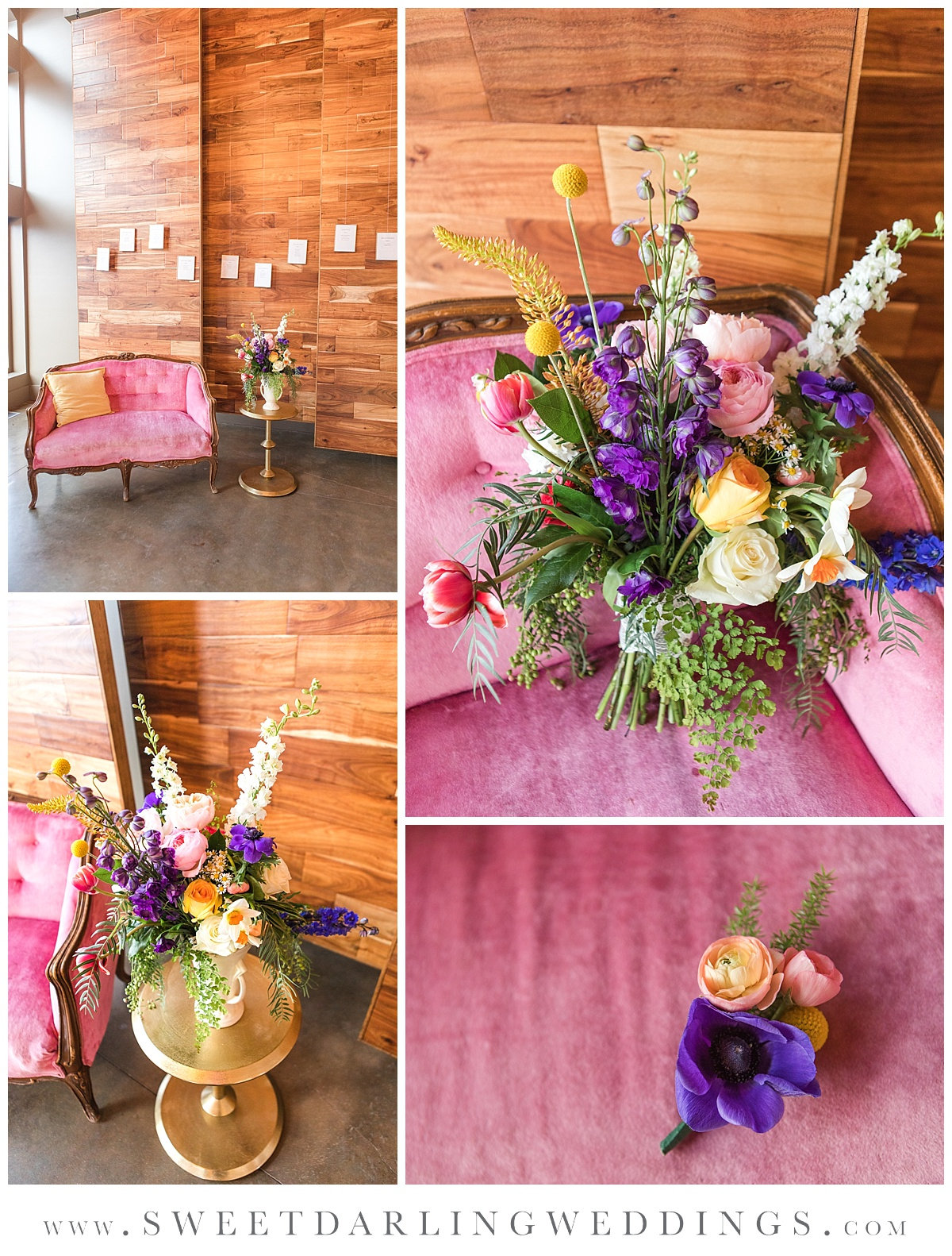Pink antique couch with boho inspired wildflower bouquet at wedding venue in champaign, il