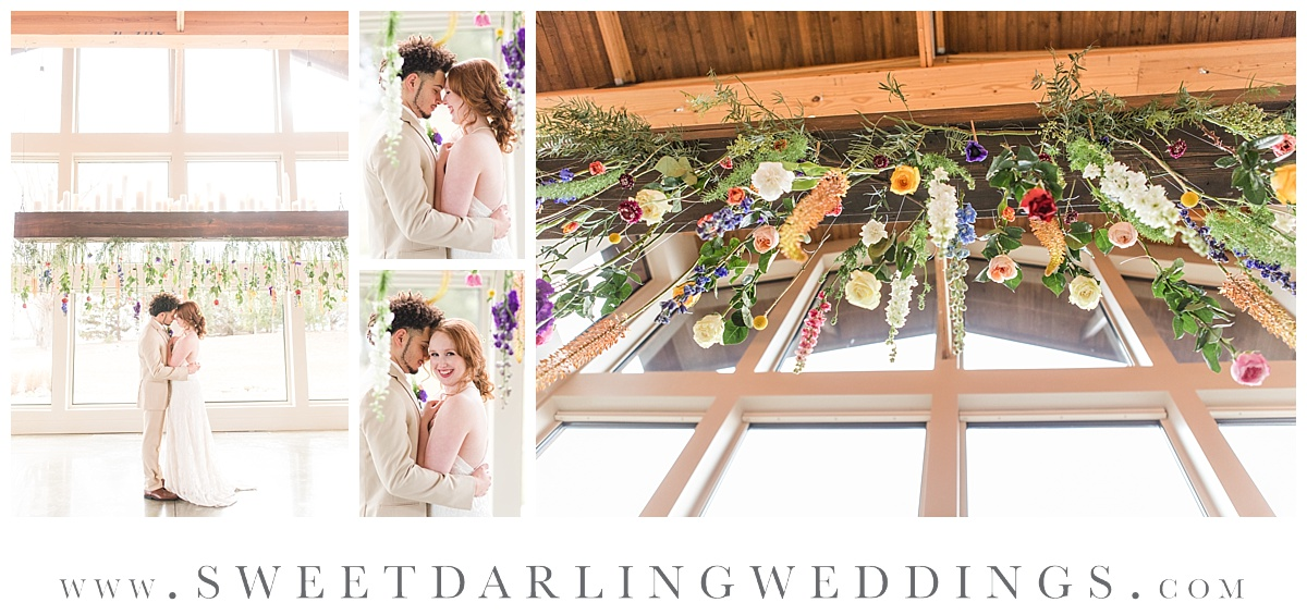 Ceremony set up with hanging wildflowers at boho inspired wedding at Pear Tree Estate